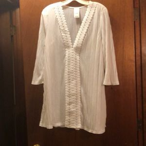Women's sz large white bathing suit cover up 12-14